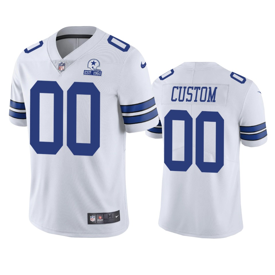 Men's Dallas Cowboys Custom White 60th Anniversary Vapor Limited Nike Jersey