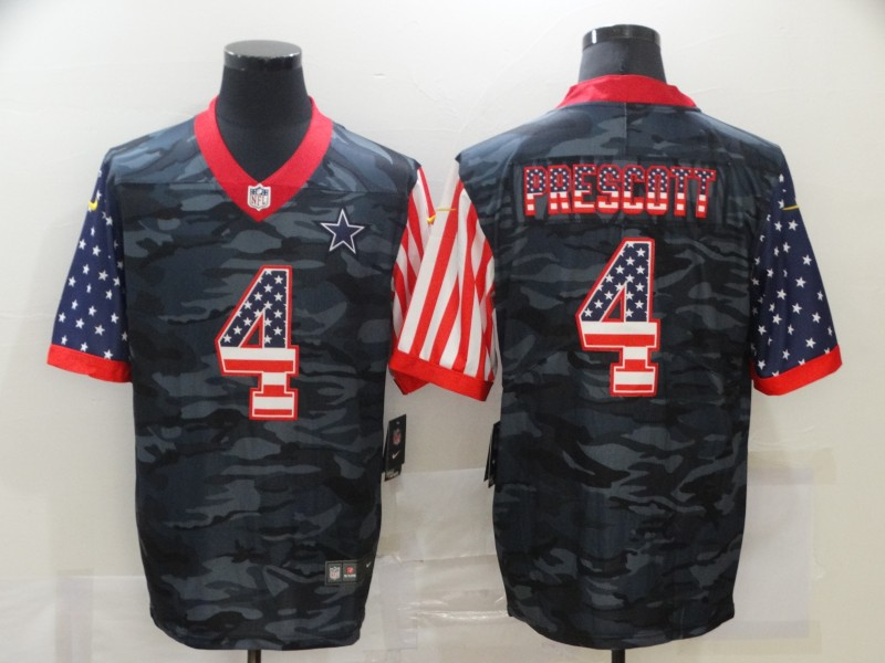 Men's Dallas Cowboys #4 Dak Prescott USA Camo 2020 Salute To Service Stitched NFL Nike Limited Jersey