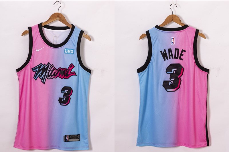 Men's Miami Heat #3 Dwyane Wade Pink Blue 2021 Nike City Edition Swingman Jersey