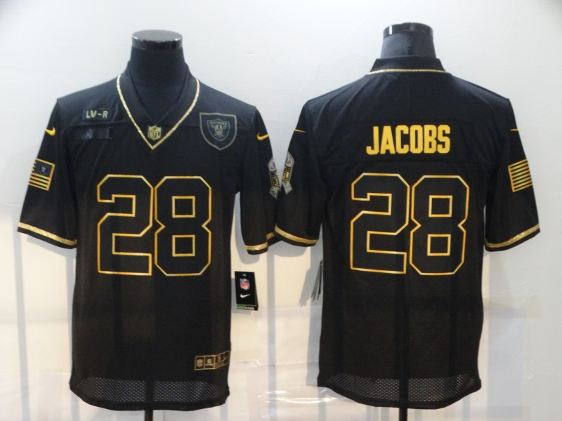Men's Las Vegas Raiders #28 Josh Jacobs Black Gold 2020 Salute To Service Stitched NFL Nike Limited Jersey