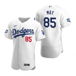 Los Angeles Dodgers #85 Dustin May White 2020 World Series Champions Jersey
