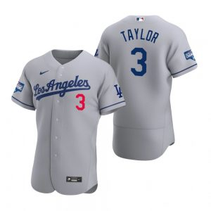 Los Angeles Dodgers #3 Chris Taylor Gray 2020 World Series Champions Road Jersey