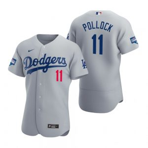 Los Angeles Dodgers #11 A.J. Pollock Gray 2020 World Series Champions Jersey