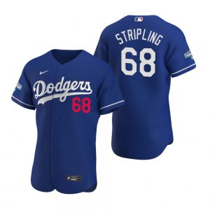 Los Angeles Dodgers #68 Ross Stripling Royal 2020 World Series Champions Jersey