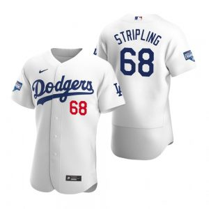 Los Angeles Dodgers #68 Ross Stripling White 2020 World Series Champions Jersey