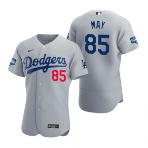 Los Angeles Dodgers #85 Dustin May Gray 2020 World Series Champions Jersey