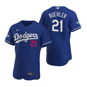 Los Angeles Dodgers #21 Walker Buehler Royal 2020 World Series Champions Jersey