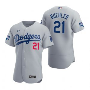 Los Angeles Dodgers #21 Walker Buehler Gray 2020 World Series Champions Jersey