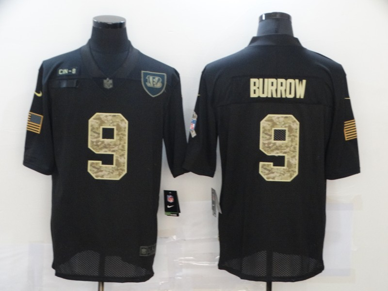 Men's Cincinnati Bengals #9 Joe Burrow Black Camo 2020 Salute To Service Stitched NFL Nike Limited Jersey