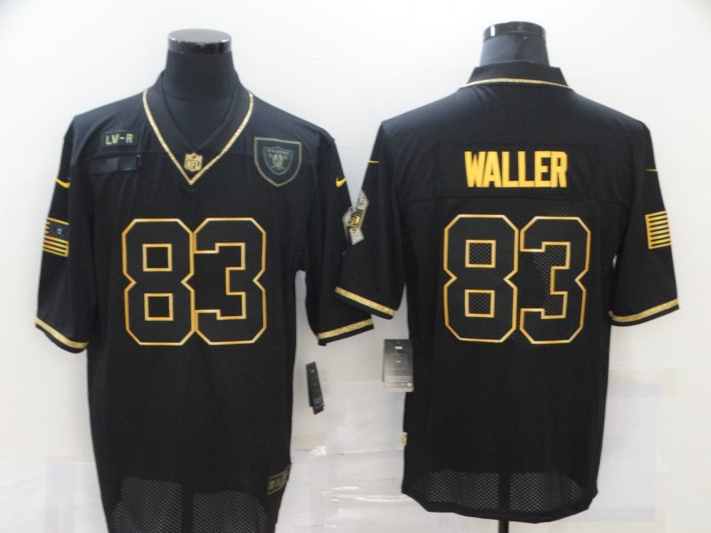 Men's Las Vegas Raiders #83 Darren Waller Black Gold 2020 Salute To Service Stitched NFL Nike Limited Jersey