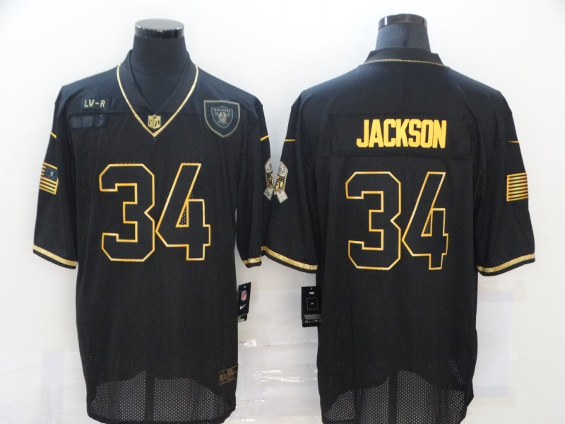 Men's Las Vegas Raiders #34 Bo Jackson Black Gold 2020 Salute To Service Stitched NFL Nike Limited Jersey