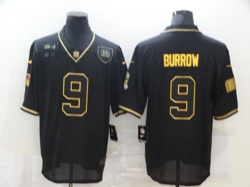 Men's Cincinnati Bengals #9 Joe Burrow Black Gold 2020 Salute To Service Stitched NFL Nike Limited Jersey