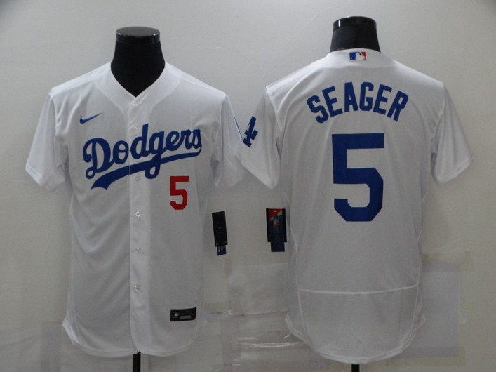 Men's Los Angeles Dodgers #5 Corey Seager White Stitched MLB Flex Base Jersey