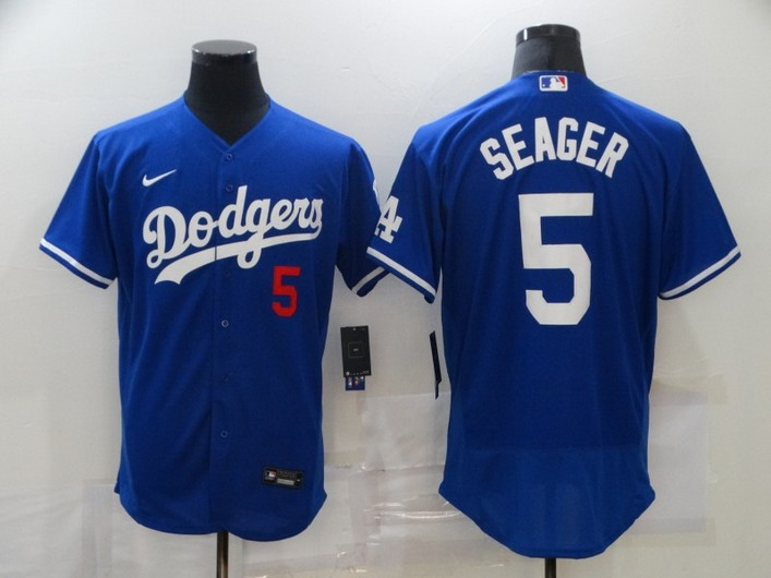 Men's Los Angeles Dodgers #5 Corey Seager Blue Stitched MLB Flex Base Jersey
