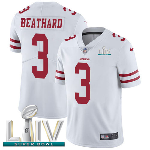Nike 49ers #3 C.J. Beathard White Super Bowl LIV 2020 Men's Stitched NFL Vapor Untouchable Limited Jersey