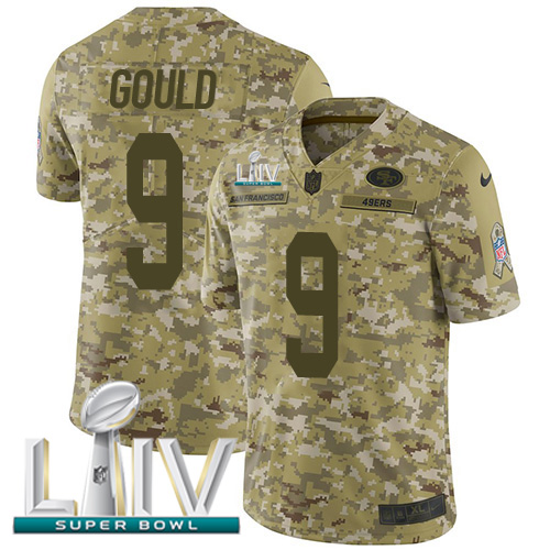 Nike 49ers #9 Robbie Gould Camo Super Bowl LIV 2020 Men's Stitched NFL Limited 2018 Salute To Service Jersey