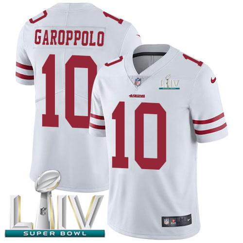 Nike 49ers #10 Jimmy Garoppolo White Super Bowl LIV 2020 Men's Stitched NFL Vapor Untouchable Limited Jersey