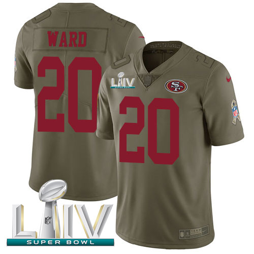 Nike 49ers #20 Jimmie Ward Olive Super Bowl LIV 2020 Men's Stitched NFL Limited 2017 Salute To Service Jersey