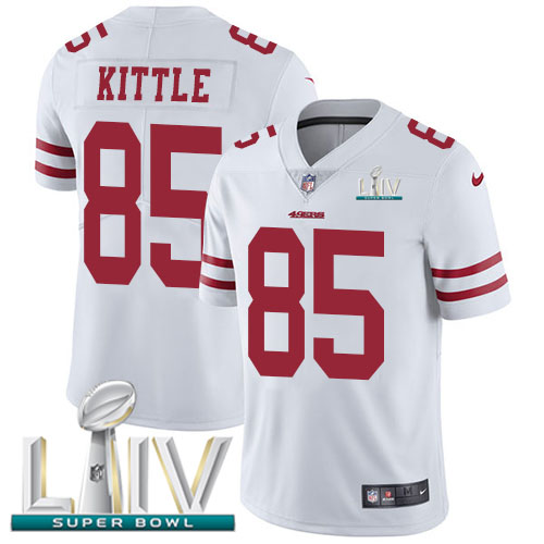 Nike 49ers #85 George Kittle White Super Bowl LIV 2020 Men's Stitched NFL Vapor Untouchable Limited Jersey
