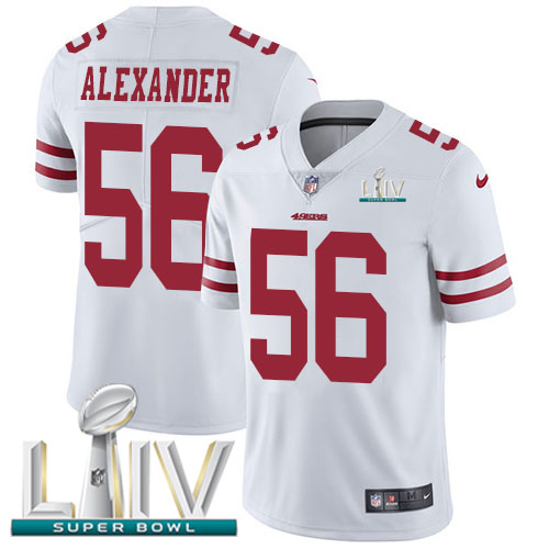 Nike 49ers #56 Kwon Alexander White Super Bowl LIV 2020 Men's Stitched NFL Vapor Untouchable Limited Jersey