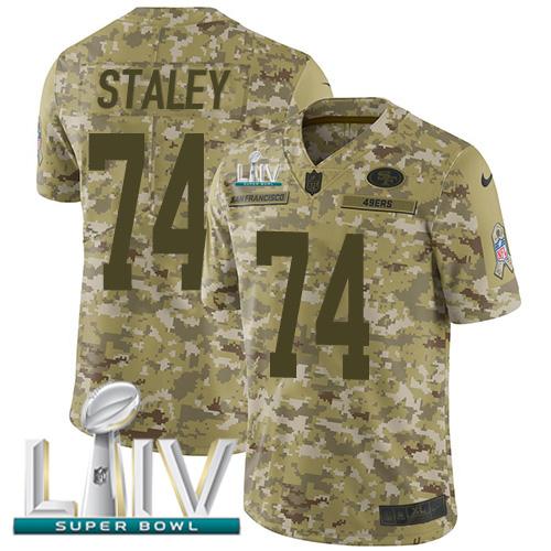Nike 49ers #74 Joe Staley Camo Super Bowl LIV 2020 Men's Stitched NFL Limited 2018 Salute To Service Jersey