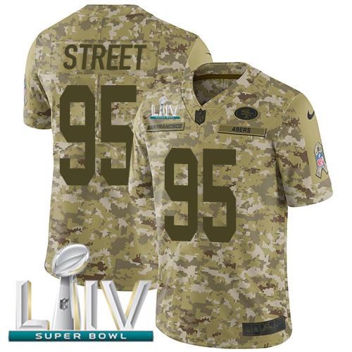 Nike 49ers #95 Kentavius Street Camo Super Bowl LIV 2020 Men's Stitched NFL Limited 2018 Salute To Service Jersey