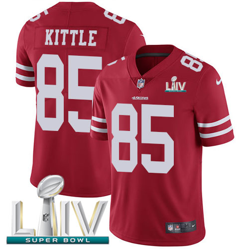 Nike 49ers #85 George Kittle Red Super Bowl LIV 2020 Team Color Men's Stitched NFL Vapor Untouchable Limited Jersey