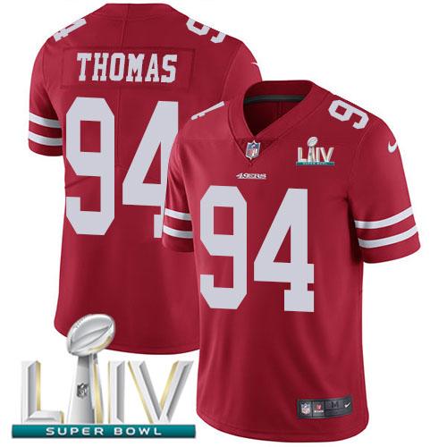 Nike 49ers #94 Solomon Thomas Red Super Bowl LIV 2020 Team Color Men's Stitched NFL Vapor Untouchable Limited Jersey