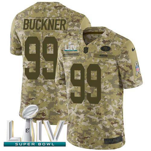 Nike 49ers #99 DeForest Buckner Camo Super Bowl LIV 2020 Men's Stitched NFL Limited 2018 Salute To Service Jersey