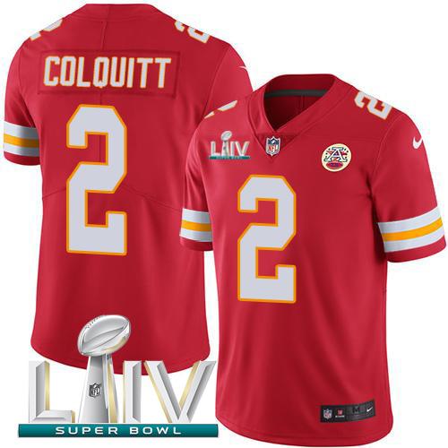 Nike Chiefs #2 Dustin Colquitt Red Super Bowl LIV 2020 Team Color Men's Stitched NFL Vapor Untouchable Limited Jersey