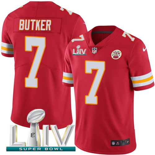 Nike Chiefs #7 Harrison Butker Red Super Bowl LIV 2020 Team Color Men's Stitched NFL Vapor Untouchable Limited Jersey