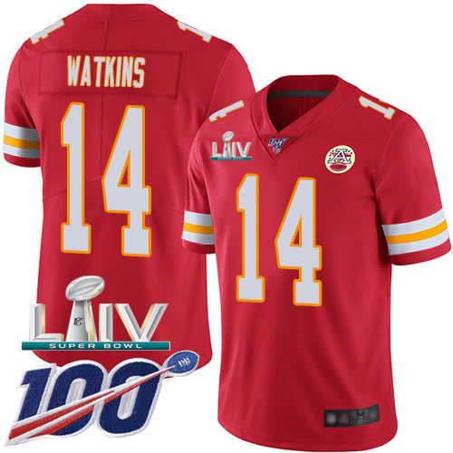 Nike Chiefs #14 Sammy Watkins Red Super Bowl LIV 2020 Team Color Men's Stitched NFL 100th Season Vapor Untouchable Limited Jersey