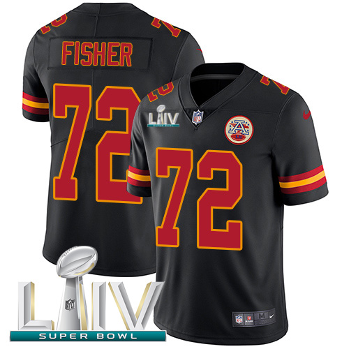 Nike Chiefs #72 Eric Fisher Black Super Bowl LIV 2020 Men's Stitched NFL Limited Rush Jersey