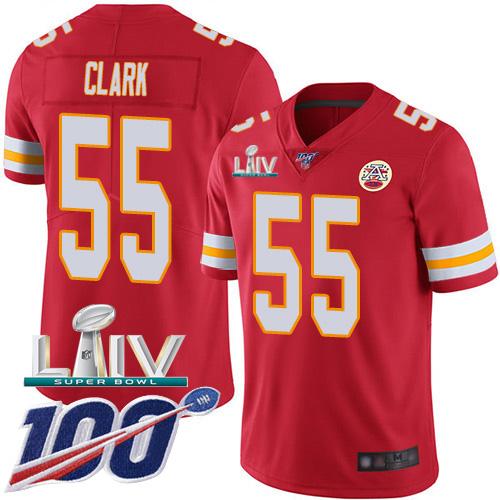 Nike Chiefs #55 Frank Clark Red Super Bowl LIV 2020 Team Color Men's Stitched NFL 100th Season Vapor Untouchable Limited Jersey