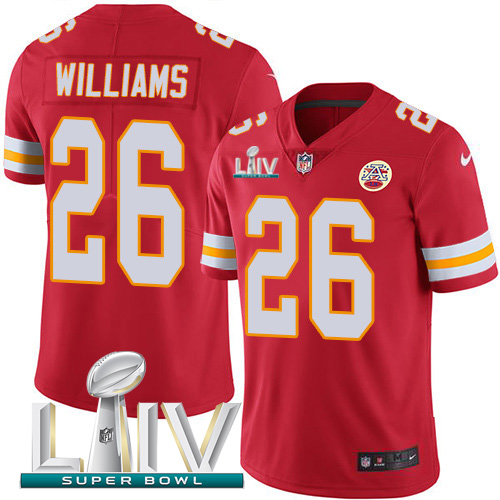 Nike Chiefs #26 Damien Williams Red Super Bowl LIV 2020 Team Color Men's Stitched NFL Vapor Untouchable Limited Jersey