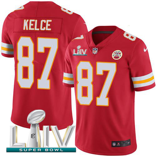 Nike Chiefs #87 Travis Kelce Red Super Bowl LIV 2020 Team Color Men's Stitched NFL Vapor Untouchable Limited Jersey
