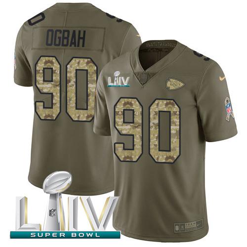 Nike Chiefs #90 Emmanuel Ogbah Olive Camo Super Bowl LIV 2020 Men's Stitched NFL Limited 2017 Salute To Service Jersey