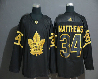 Men's Toronto Maple Leafs #34 Auston Matthews Black Golden Adidas Stitched NHL Jersey