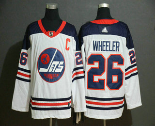 Men's Winnipeg Jets #26 Blake Wheeler White Breakaway Heritage Adidas Stitched NHL Jersey