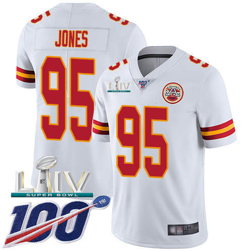 Nike Chiefs #95 Chris Jones White Super Bowl LIV 2020 Youth Stitched NFL 100th Season Vapor Untouchable Limited Jersey