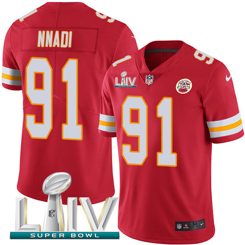 Nike Chiefs #91 Derrick Nnadi Red Super Bowl LIV 2020 Team Color Youth Stitched NFL Vapor Untouchable Limited Jersey
