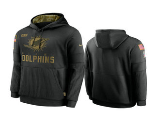 Men's Miami Dolphins Black 2020 Salute to Service Sideline Performance Pullover Hoodie