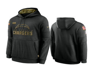 Men's Los Angeles Chargers Black 2020 Salute to Service Sideline Performance Pullover Hoodie