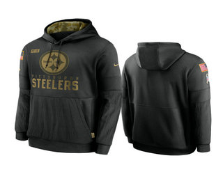 Men's Pittsburgh Steelers Black 2020 Salute to Service Sideline Performance Pullover Hoodie