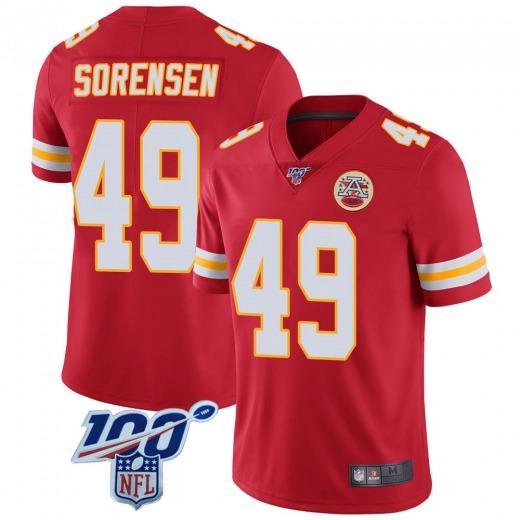 Men's Kansas City Chiefs #49 Daniel Sorensen 100th Vapor Jersey - Limited Red