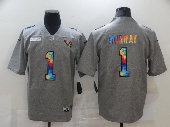 Men's Arizona Cardinals #1 Kyler Murray 2020 Grey Crucial Catch Limited Stitched NFL Jersey