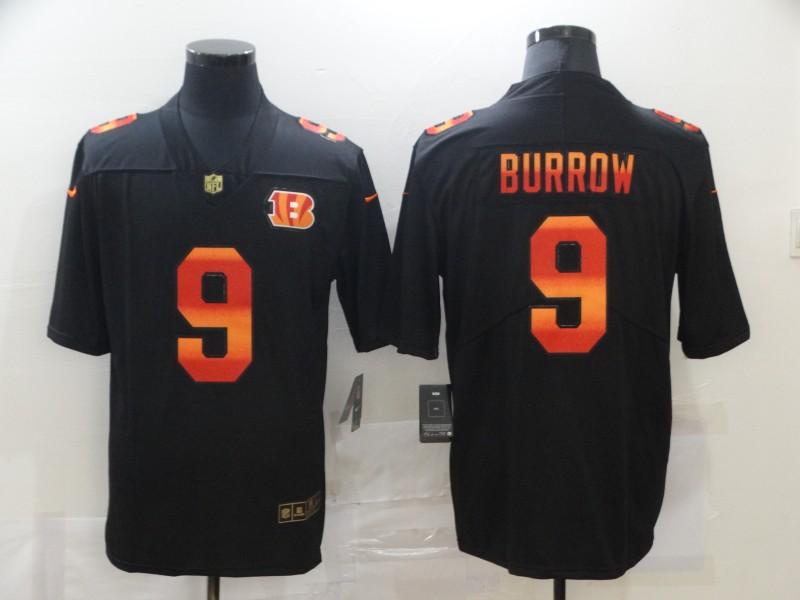 Men's Cincinnati Bengals #9 Joe Burrow Black Red Orange Stripe Vapor Limited Nike NFL Jersey
