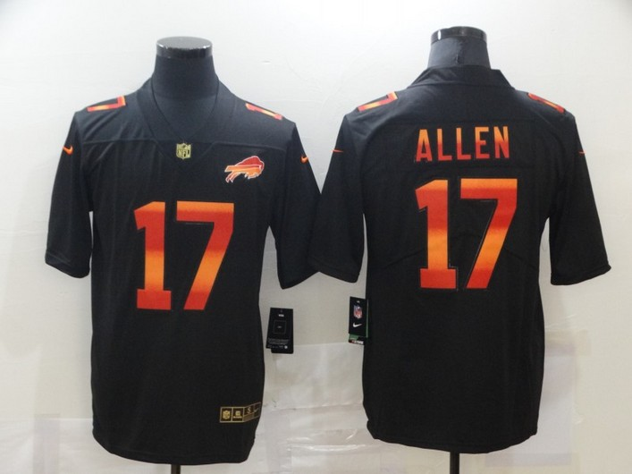 Men's Buffalo Bills #17 Josh Allen Black Red Orange Stripe Vapor Limited Nike NFL Jersey