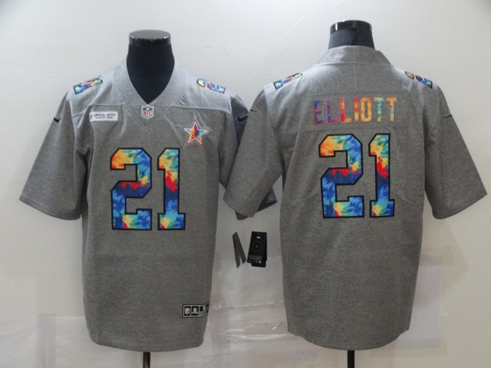 Men's Dallas Cowboys #21 Ezekiel Elliott 2020 Grey Crucial Catch Limited Stitched NFL Jersey