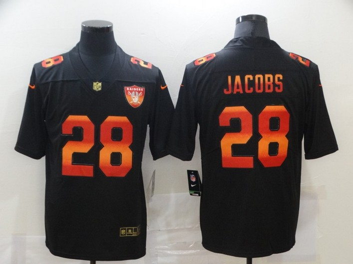 Men's Las Vegas Raiders #28 Josh Jacobs Black Red Orange Stripe Vapor Limited Nike NFL Jersey